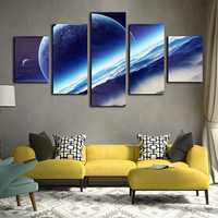 5 Cascade Night Sky Interstellar Space Globe Canvas Wall Painting Picture Home Decoration No Framed