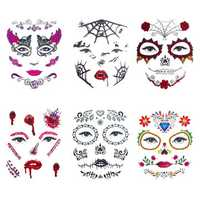 6pcs/set Halloween Costume Cosplay Party Makeup Face Eye Terror Temporary Tattoo Sticker Waterproof