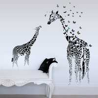 Honana DX-368 3D Giraffe Colorful Butterfly Wall Sticker Removable Home Decor Bedroom Art Applique