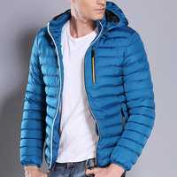 Men Casual Cotton Down Padded Jacket Hooded Solid Color Coat