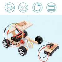 Wood DIY Assembly Car Model Kit RC Remote Control Children Kids Experiment Science Toy