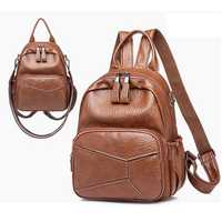 Women Pu Leather Casual Backpack Crossbody Bag