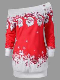 Women Santa Claus Print Christmas Long Sleeve Mini Dress
