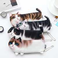 WAM PC-08 Simulation Cat Pencil Case School Stationery Pen Bag Multifunctional Cosmetic Bag