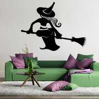 Creative Witch Broom Sticker Removable Halloween Festival Decor Black DIY Wall Sticker Poster Wallpaper Party Home Decoration Removable Wallpapers Vinyl Art Decal Waterproof Decor Sticker