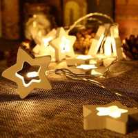 1.65M 10LEDs Wood Star Christmas Tree Shaped Battery Powered String Garland Lights LED Holiday Lights Festival Wedding Party Room Decorations Lights