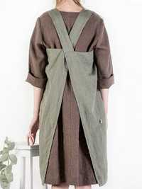 M-5XL Vintage Women Solid Color Side Pockets Cotton Dress