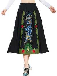 Vintage Embroidery Loose Ethnic Women Cotton Skirt