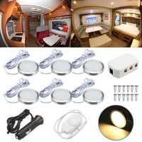 6pcs 12V Spot Ceiling Light Lamp Dimmer Cabinet Lamp For Caravan Camper Trailer