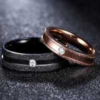 Gold Black Stripe Stainless Steel Couple Ring Women Jewelry Birthday Dating Gift