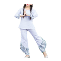Women Fitness Yoga Suits Sports Fitness Cotton Linen Yoga Meditation Clothes Printing National Style