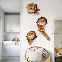 Miico 3D Creative PVC Wall Stickers Home Decor Mural Art Removable Cat Wall Decals