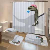 Waterproof Fabric Bathroom Shower Curtain Anti-slip Mat Toilet Cover Set