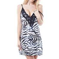 Women Sexy Deep V Zebra Striped Nightdress Satin Embroidery Spaghetti Straps Nightdress