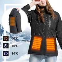 Women Electronic USB Heated Jacket Black/Red/Pink/Khaki Intelligent Heating Hooded Work Motorcycle Skiing Riding Coat
