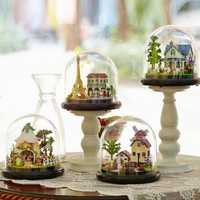 CuteRoom Travel Series DIY Dollhouse Villa House Miniature With LED Lights Cover Collection Gift Toy