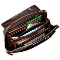Men Genuine Leather Vintage Zipper Clutches Bag Business Long Wallet