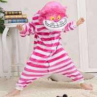 Flannel Thickening kids Cute Cartoon Cheshire Cat Pajamas Siamese Sleepwear