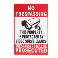 NO Trespassing Property Protected By Video Surveillance Safty Camera Metal Sign with Two Holes