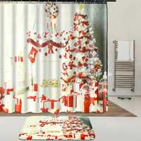 Indoor Christmas Dress Up Shower Curtain Liner Waterproof Bathroom Waterproof Carpet Mat