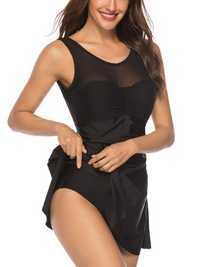 Black Split Skirt Swimdress Leaky Mesh Stitching Swimwear