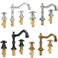Antique 3 Holes 2 Knobs Tub Spout Basin Bathroom Sink Waterfall Faucet Widespread Hot Cold Mixer Tap