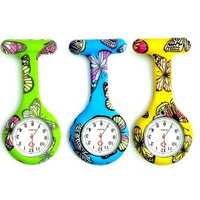 Butterfly Pattern Colorful Silicone Pocket Nurse Watch