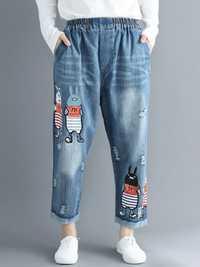 Cartoon Embroidery Elastic Waist Denim Jeans