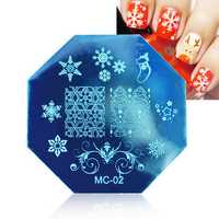 Dancingnail Christmas Nail Stamping Plates Image Stamp Template Manicure Stencil Santa Claus