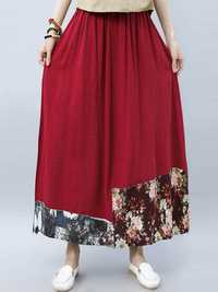 Women Vintage Floral High Elastic Waist Chinese Style Skirt