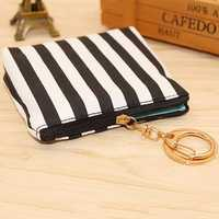 White Black Plaid Bag Stripe Change Bag Key Chain Ring