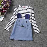 Cute Kid Girls Striped Cartoon Little Mouse Patchwork Dress