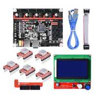 SKR V1.3 32-Bit Smoothieboard Mainboard + 12864 LCD Display+ 5xA4988 Kit for 3D Printer