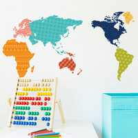 Colorful World Map Wall Stickers Bedroom TV Background Wall Murals DIY Home Decor Wall Decal Vinyl