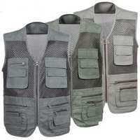 Mens Leisure Breathable Mesh Multifunctional Quick Dry Outdoor Fishing Sleeveless Vest