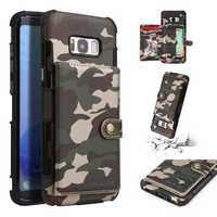 Camouflage Wallet Card Slots Protective Case For Samsung Galaxy S8 Plus
