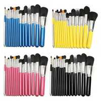 15Pcs Makeup Brushes Eye Shadow Foundation Blush Powder Cream Cosmetic Tools Black Pink Blue Yellow