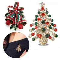 2 Pcs Brooches Combination Christmas Tree and Jingle Bell Best Gift
