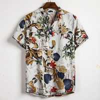 Men Tropical Plants Print Short Sleeve Oriental Henley Shirt