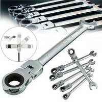 DANIU 6pcs a Set 6mm-12mm Flexible Pivoting Head Ratchet Combination Spanner Wrench Garage Metric Tool