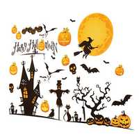 Halloween Decoration Art Paper Stick Home Pumpkin Castle Moon
