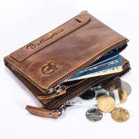 Bullcaptain Wallet Men Zipper Vintage Coin Bag