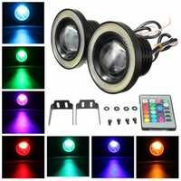Wireless Control 3.5inch LED RGB Color Fog Lights White Angel Eye Rings Car Lights