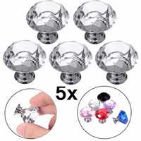 5Pcs 30mm Diamond Crystal Glass Door Drawer Cabinet Furniture Handle Knobs