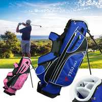 4-Way Children Lightweight Golf Rod Stand Bag Clubs Carry Organizer Storage Pouch