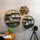 Meilleurs prix 59/80cm Round Shelf Metal Wood Storage Bookcase Wall Mounted Bracket Room Decor