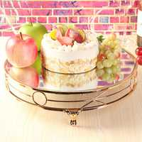 14'' Gold Plated Mirror Cake Stand Round Metal Decorations Wedding Display Props