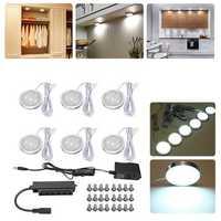 6pcs Round LED Under Cabinet Light Kit Kitchen Shelf Lamp Counter DIY