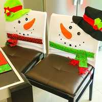 Funny Christmas Snowman Chair Cover Christmas Home Party Decorations Dinner Table Chair Black Cover
