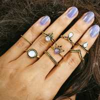 8 Pcs Women Trendy Crystal Geometric Gem Knuckle Ring Set